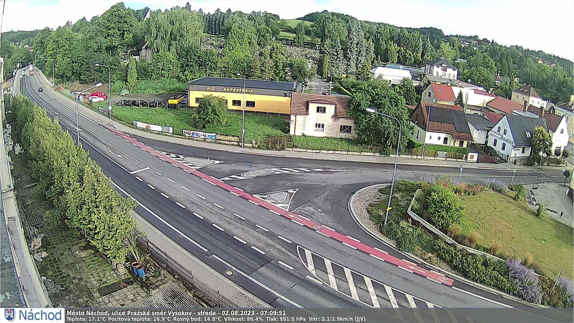Webkamerka - Náchod, Bartoň směrem z centra