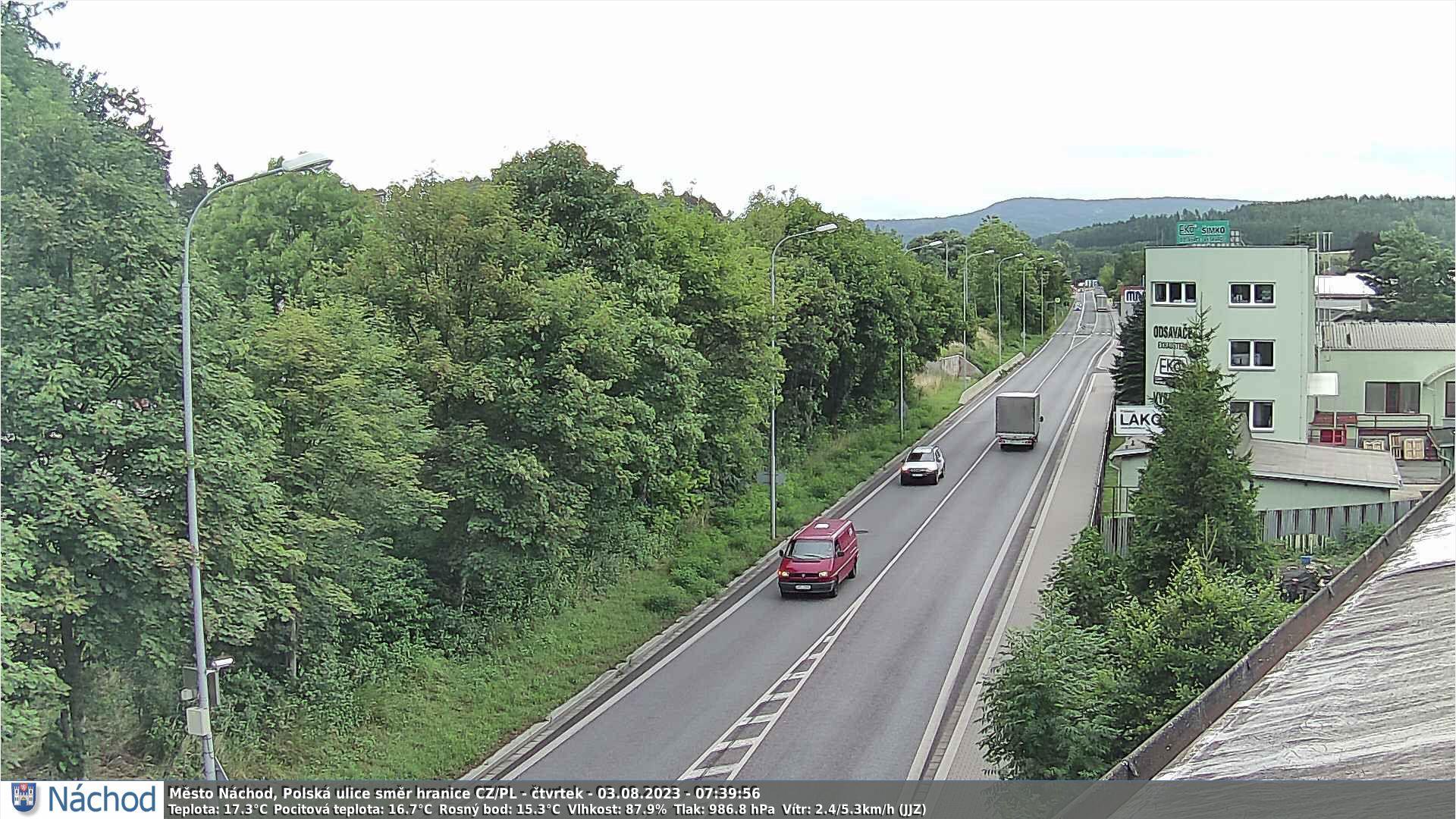 Webkamerka - Náchod, Polská ulice směr Polsko