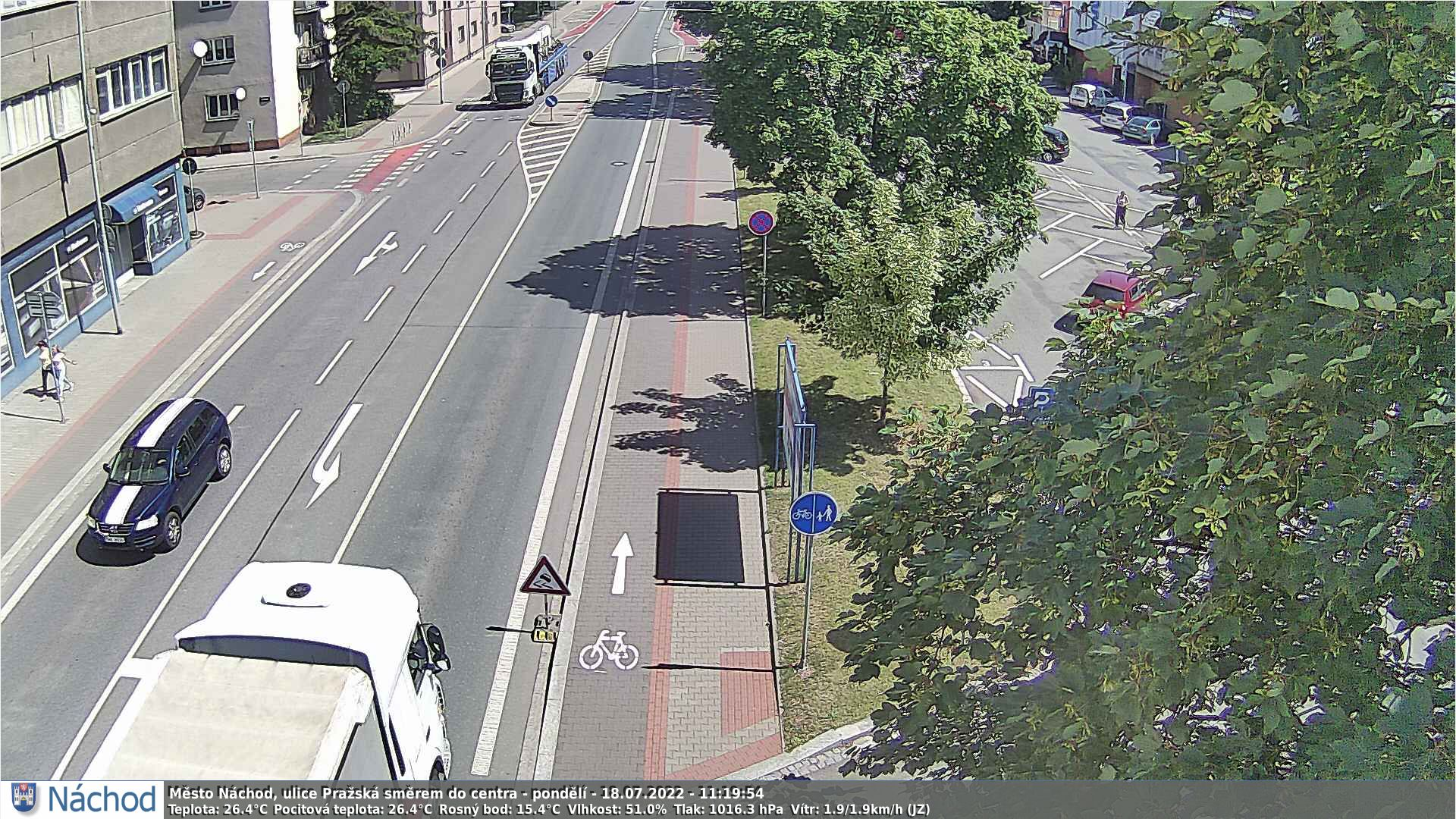 Webkamerka - Náchod, Pražská ulice směrem z centra